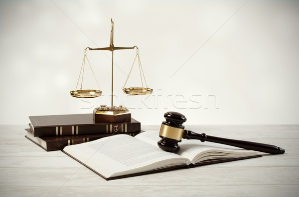 Justice concept on wooden background Stock photo © simpson33