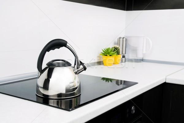 Acél bogrács modern konyha tűzhely étel Stock fotó © simpson33
