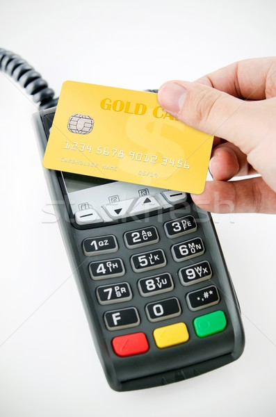 Contactless gold payment card with NFC chip using with terminal  Stock photo © simpson33
