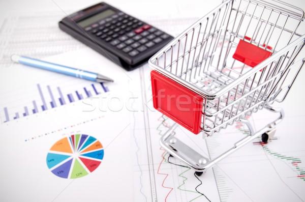 Bevásárlókosár játék üzlet iratok ekereskedelem iroda Stock fotó © simpson33