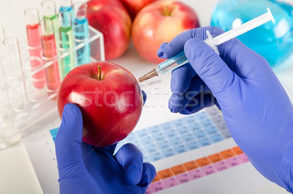 Analyst injects liquid into apple. Genetically modified food con Stock photo © simpson33