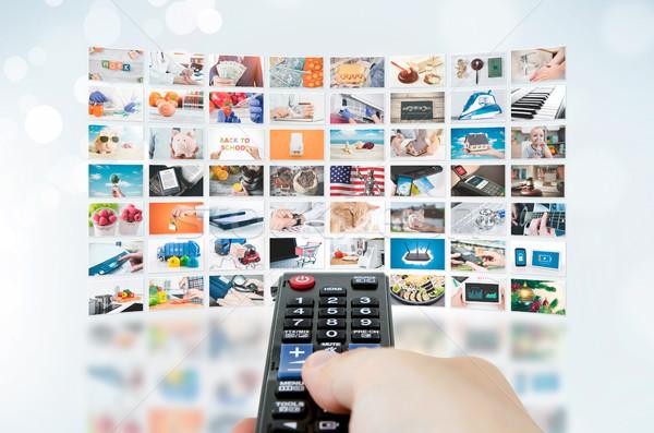 Multimedialnych telewizji nadawanie ściany wideo Zdjęcia stock © simpson33