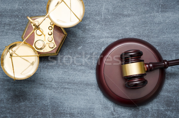 Gavel and scale top view Stock photo © simpson33