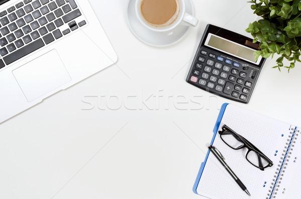 Irodai asztal asztal laptop kávéscsésze készlet felső Stock fotó © simpson33