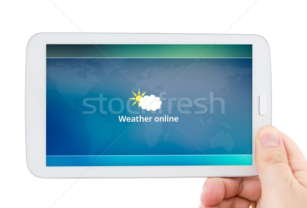 Hand tablet mobiele weer prognose Stockfoto © simpson33