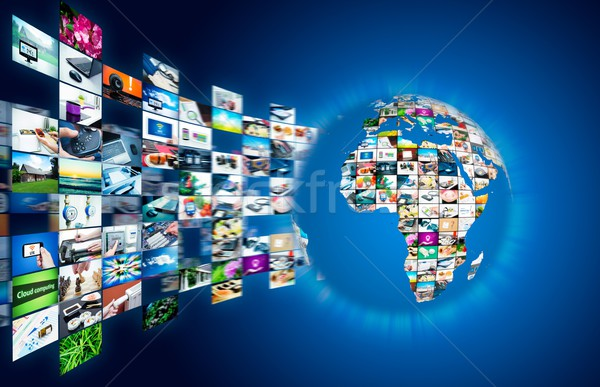 Television broadcast streaming multimedia. Earth globe compositi Stock photo © simpson33