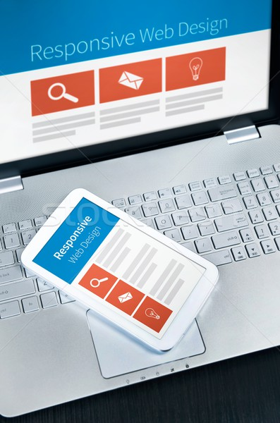 Responsive web design on mobile devices phone and tablet pc Stock photo © simpson33