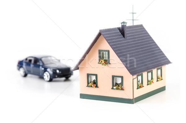 Stock foto: Haus · Miniatur · Auto · Modell · isoliert · weiß
