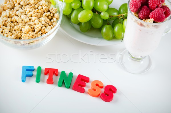 Fitness woord omhoog brieven magneten gezonde voeding Stockfoto © simpson33