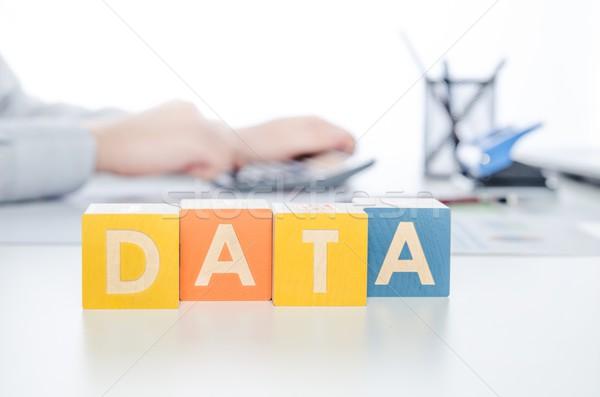 Veri kelime renkli bloklar güvenli iş adamı Stok fotoğraf © simpson33