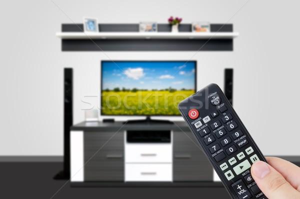 Oglądanie telewizji nowoczesne telewizja pokój strony Zdjęcia stock © simpson33