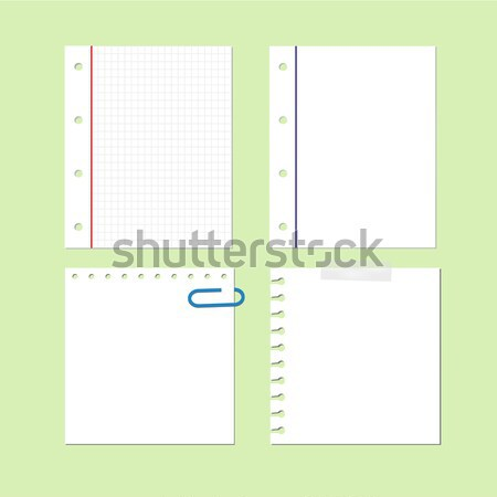 Vector papel hoja nota memorándum establecer Foto stock © simpson33