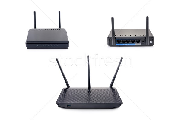 Wireless router set isolated on white background  Stock photo © simpson33