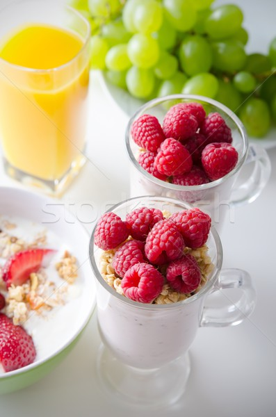 ガラス デザート 新鮮な 液果類 ミューズリー ヨーグルト ストックフォト © simpson33