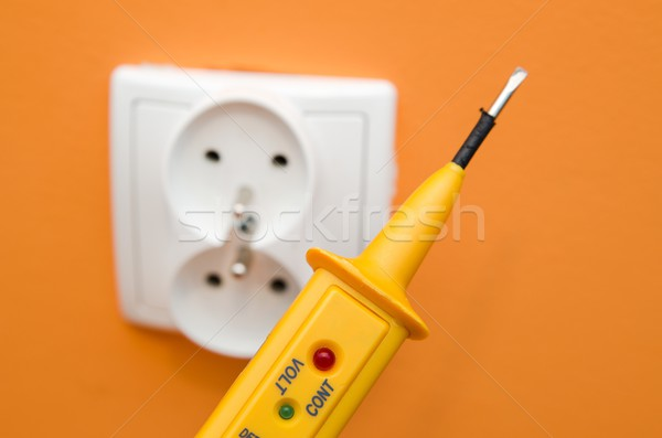 Electricity current meter, turn-screw near to the socket. Stock photo © simpson33