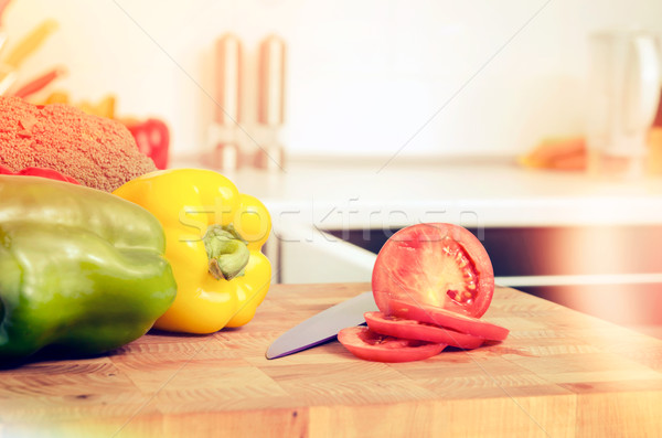 Fresh vegetables on a chopping board Stock photo © simpson33