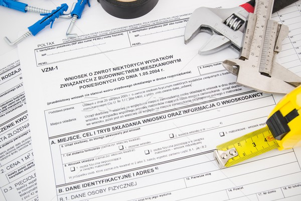 Polish tax form and tools. Credit for home construction. Stock photo © simpson33