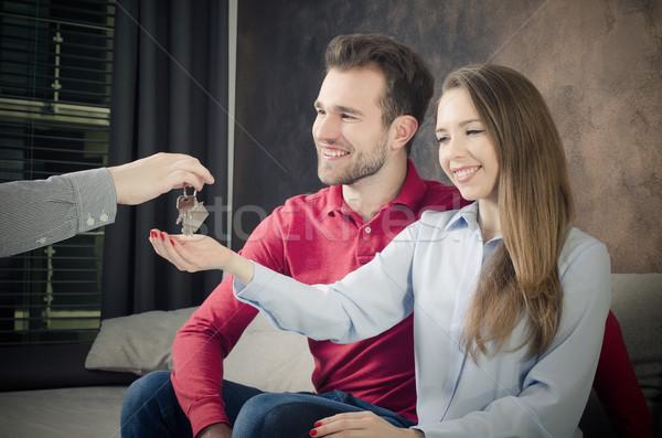 Fiatal pér vétel saját otthon birtok vásárol Stock fotó © simpson33