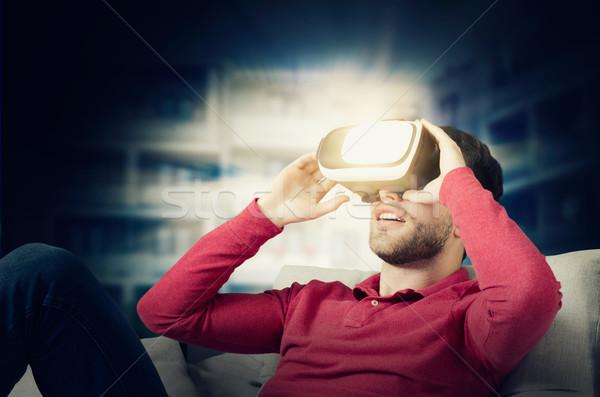 человека виртуальный реальность очки смартфон внутри Сток-фото © simpson33