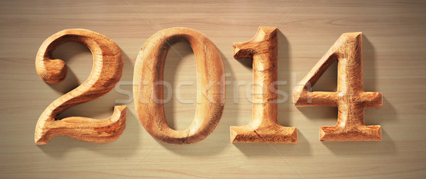 2014 wooden numeric with drop shadow. Stock photo © sippakorn