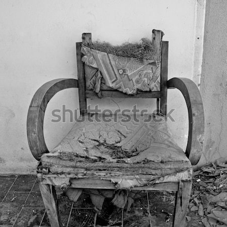 torn armchair and pile of broken glass Stock photo © sirylok
