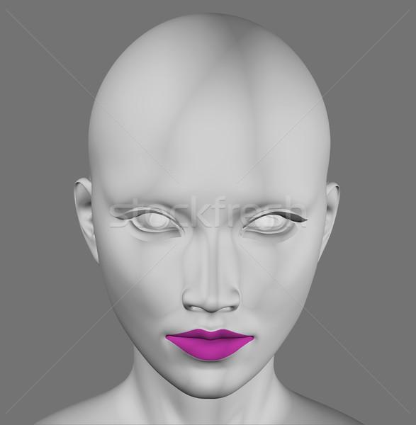 Szary obcych kobiet futurystyczny rysunku 3d ilustracji Zdjęcia stock © sirylok