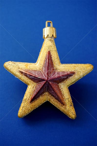 Choinka złoty star dekoracji ozdoba szczęśliwy Zdjęcia stock © sirylok