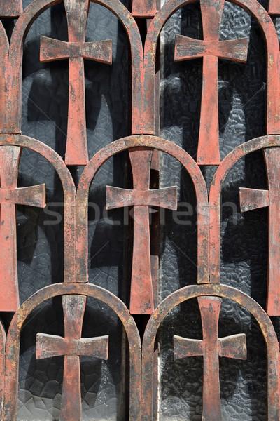 Roestige kruis patroon vintage metaal Stockfoto © sirylok