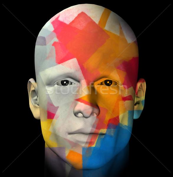 カラフル 肖像 実例 男性 幾何学模様 3D ストックフォト © sirylok