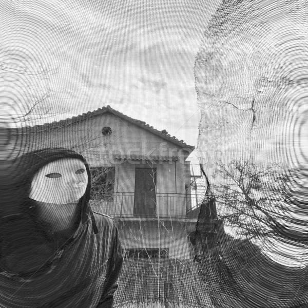 Figura dietro finestra bianco nero casa faccia Foto d'archivio © sirylok