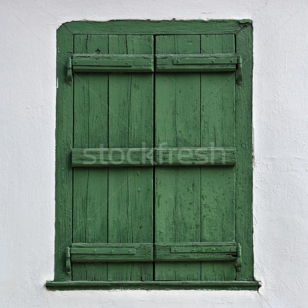 Fából készült zsalugáter zöld fehér fal ház Stock fotó © sirylok