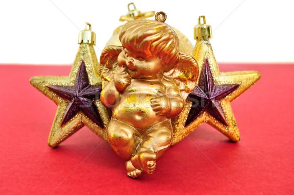 ángel dorado Navidad estrellas estacional decoración Foto stock © sirylok