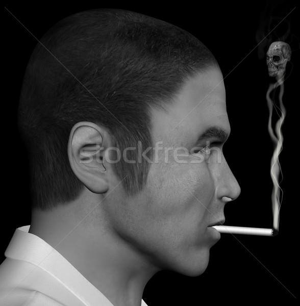 smoking man and smoke skull Stock photo © sirylok