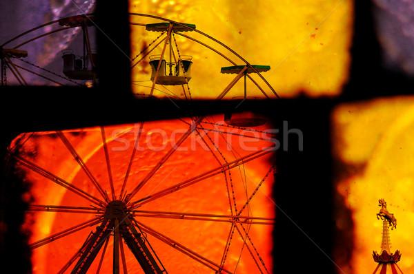 Carrousel abstractie paard kleurrijk Stockfoto © sirylok