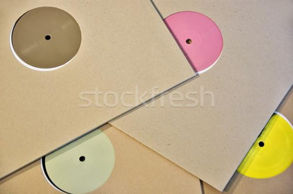 Stockfoto: Kleurrijk · vinyl · record · karton · huls