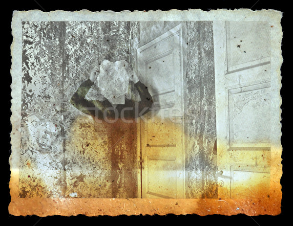 vintage photo of ghost in haunted house Stock photo © sirylok