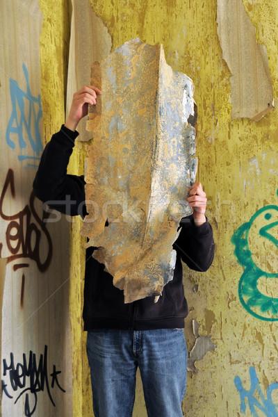 Stockfoto: Mannelijke · cijfer · verlaten · huis · handen