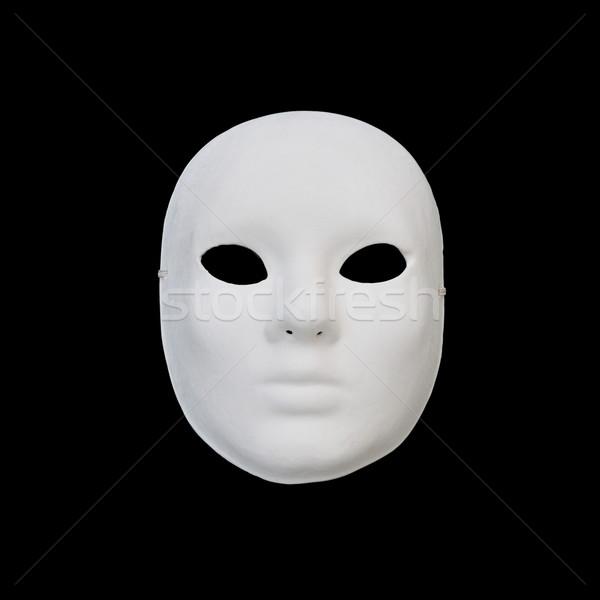 Fehér maszk üres tekintet fekete arc gótikus Stock fotó © sirylok