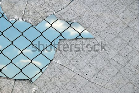 Vidrios rotos cerca cadena enlace cielo blanco negro Foto stock © sirylok