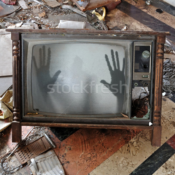 ghost appears on flickering tv set Stock photo © sirylok