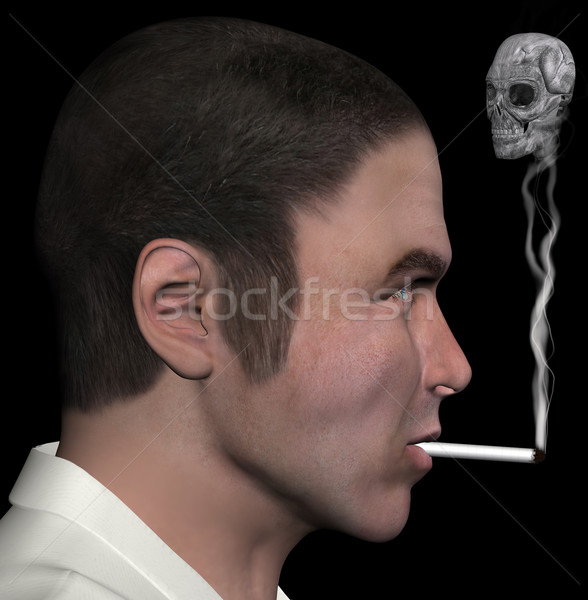 man and smoke skull 3d illustration Stock photo © sirylok