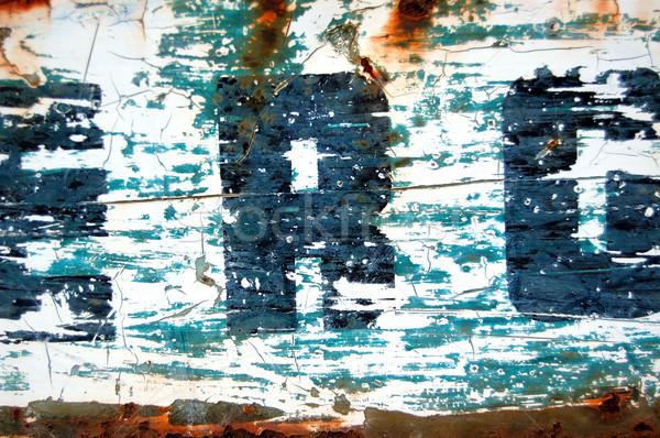 Verweerde stencil type roestige metalen oppervlak abstract Stockfoto © sirylok