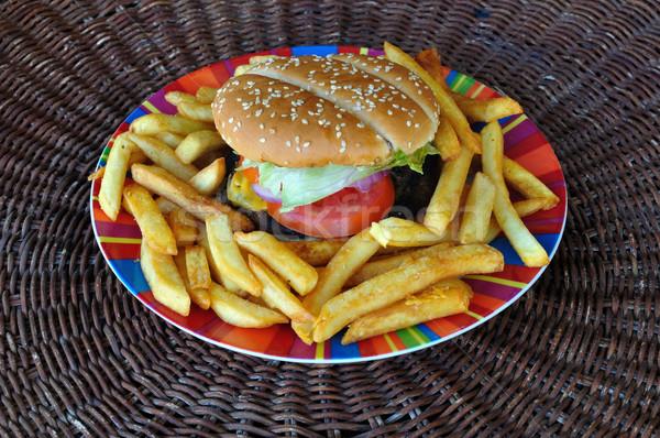 Rundvlees cheeseburger plaat fast food achtergrond Stockfoto © sirylok