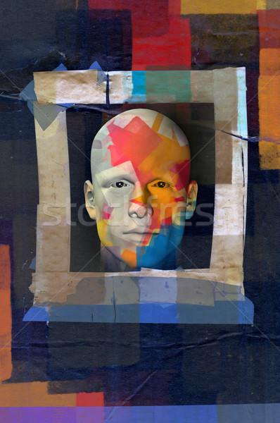 Colorido masculino retrato grunge quadro padrão Foto stock © sirylok