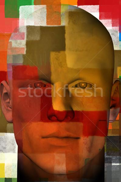男 肖像 正方形 パターン 3次元の図 カラフル ストックフォト © sirylok