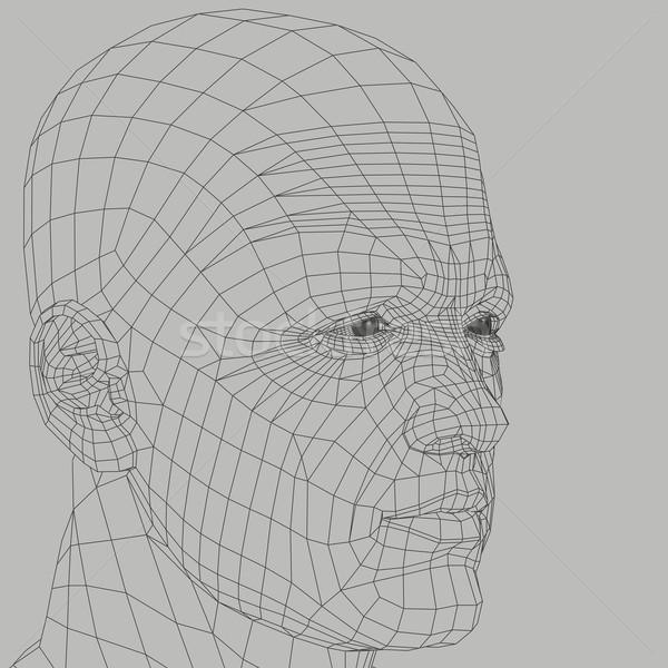 человека Черно-белые иллюстрация 3d иллюстрации голову лице Сток-фото © sirylok