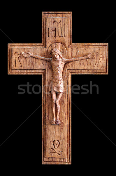 Crucifixo crânio isolado preto corpo Foto stock © sirylok