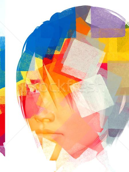 Foto stock: Abstrato · feminino · descobrir · retrato · padrão · geométrico · ilustração · 3d
