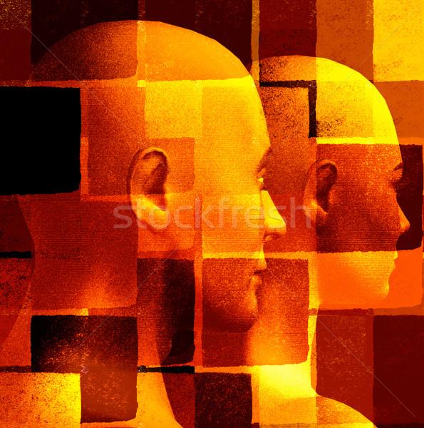 抽象的な 未来的な カップル 幾何学模様 3D コンピュータ ストックフォト © sirylok