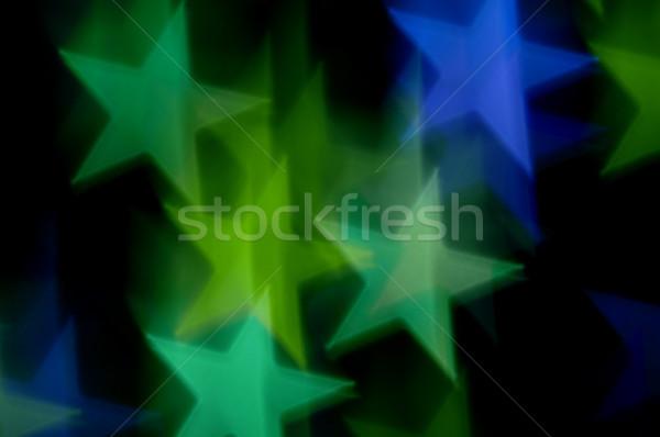 Niebieski zielone gwiazdki streszczenie rozmycie bokeh Zdjęcia stock © sirylok